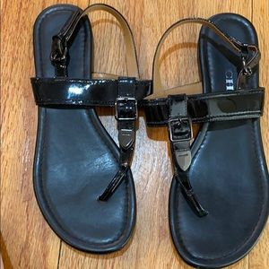 Coach Leather/Patent Leather Sandals 7.5 Black